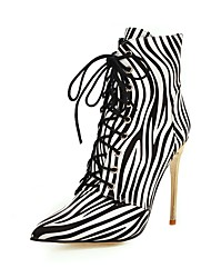 cheap -Women's Boots Print Shoes Stiletto Heel Pointed Toe PU Mid-Calf Boots Classic Fall & Winter Black / Leopard / Gold / Wedding / Party & Evening / Striped