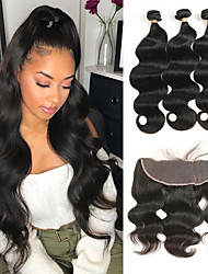 cheap -3 Bundles with Closure Brazilian Hair Body Wave Human Hair Human Hair Extensions Hair Weft with Closure 8-26 inch Black Human Hair Weaves Women New Arrival Hot Sale Human Hair Extensions