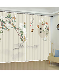 cheap -Chinese Wind Classical Flower Magnolia Digital Printing 3D Curtain China Wind Shade Curtain High Precision Black Silk Fabric High Quality First Class Living Room Curtain