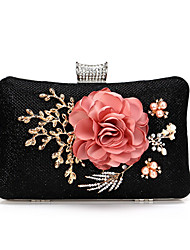 cheap -Women's Flower Polyester Evening Bag Floral Print Black / Gold / Silver