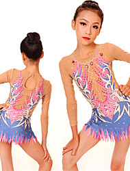 cheap -Rhythmic Gymnastics Leotards Artistic Gymnastics Leotards Women's Girls' Leotard Blushing Pink High Elasticity Handmade Print Jeweled Long Sleeve Competition Ballet Dance Ice Skating Rhythmic