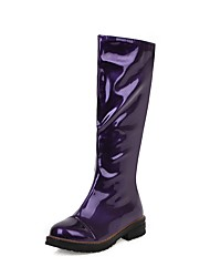 cheap -Women's Boots Chunky Heel Round Toe PU Mid-Calf Boots Classic Fall & Winter Black / White / Purple / Party & Evening