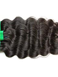 "cheap -3 Bundles Indian Hair Body Wave Virgin Human Hair Unprocessed Human Hair Natural Color Hair Weaves / Hair Bulk 10""~30"" Natural Human Hair Weaves Natural Best Quality For Black Women Human Hair"