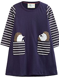 cheap -Kids Girls' Striped Dress Purple