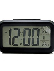 cheap -Digital Alarm clock Black Plastics AA Batteries Powered Lighting Wake Up Clock
