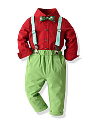 cheap -Kids Toddler Boys' Basic Birthday Party Party & Evening Black & White Solid Colored Print Long Sleeve Regular Regular Clothing Set Red