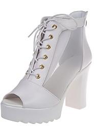 cheap -Women's Sandals Chunky Heel Peep Toe PU Summer Black / White