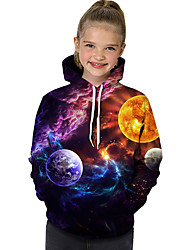 cheap -Kids Toddler Girls' Active Basic Rubik's Cube Geometric Galaxy Color Block Print Long Sleeve Hoodie & Sweatshirt Rainbow