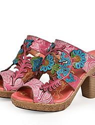cheap -Women's Sandals Chunky Heel Peep Toe Leather Summer Pink