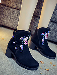 cheap -Women's Boots Block Heel Round Toe Satin Flower Suede Booties / Ankle Boots Vintage / Chinoiserie Spring &  Fall / Fall & Winter Black