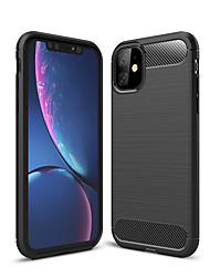 cheap -Case For Apple iPhone 11 / iPhone 11 Pro / iPhone 11 Pro Max Shockproof Back Cover Solid Colored Carbon Fiber