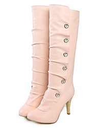 cheap -Women's Boots Knee High Boots Low Heel Pointed Toe PU Knee High Boots Summer Black / White / Pink