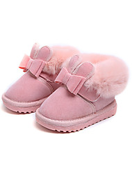 cheap -Girls' Snow Boots / Flower Girl Shoes Suede Boots Dress Shoes Toddler(9m-4ys) Feather / Bowknot Black / Red / Pink Fall / Winter / Party & Evening / Rubber