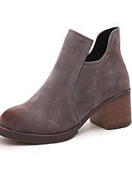 cheap -Women's Boots Chunky Heel Pointed Toe Suede / PU Booties / Ankle Boots Casual Fall Black / Light Brown / Gray