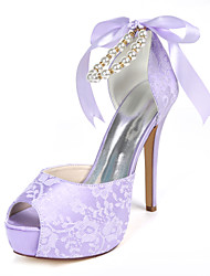 cheap -Women's Wedding Shoes Stiletto Heel Peep Toe Imitation Pearl / Ribbon Tie Lace Sweet Fall / Spring & Summer White / Ivory / Light Purple / Party & Evening