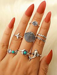 cheap -Ring Vintage Style Silver Alloy Fish Flower Shape Classic Vintage Trendy 8pcs 9 / Women's / Ring Set