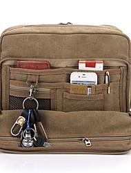 cheap -Men's Bags Canvas Shoulder Messenger Bag Crossbody Bag Zipper Solid Color Canvas Bag Daily Black Khaki Brown