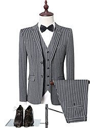 cheap -Black / Light Grey / Gray Striped Slim Fit Polyester Suit - Notch Single Breasted Two-buttons