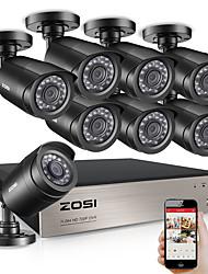Недорогие -Zosi 8-канальная система видеонаблюдения 8x720p в помещении на открытом воздухе и погодоустойчивые камеры видеонаблюдения HD HD видеонаблюдения Kit 1 ТБ HDD