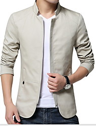 cheap -Men's Daily Winter Regular Jacket, Solid Colored Shirt Collar Long Sleeve Polyester Black / Navy Blue / Beige