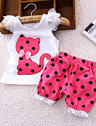 cheap -Baby Girls' Basic Cat Polka Dot / Print Print Sleeveless Long Long Clothing Set Fuchsia