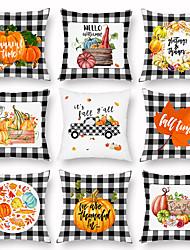 cheap -Halloween Black and White Geometric Pumpkin Peach Cashmere Pillow Case Lightweight Sofa Pillow Case with Waist Pillow Pillow Case
