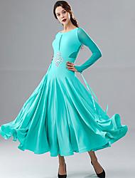cheap -Ballroom Dance Dresses Women's Performance Chinlon / Milk Fiber Ruching / Split Joint / Crystals / Rhinestones Long Sleeve Dress