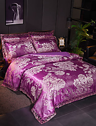 cheap -Duvet Cover Sets European Satin Luxury Violet Color Floral Pattern/ Jacquard Lace/ 4 Piece Bedding Set