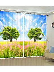 cheap -3dBlue Sky Green Grassland Digital Printing 3D Curtain Shading Creative Curtain High Precision Black Silk Fabric High Quality First-class Shading Bedroom Living