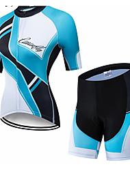 abordables -CAWANFLY Femme Manches Courtes Maillot et Cuissard Velo Cyclisme Bleu et Noir Géométrique Cyclisme Ensembles de Sport VTT Vélo tout terrain Vélo Route Respirable Séchage rapide Poche arrière Des