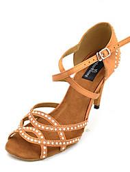 cheap -Women's Dance Shoes Satin Latin Shoes Rhinestone / Crystal / Rhinestone Heel Slim High Heel Customizable Black / Bronze / Leather / Practice
