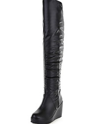 cheap -Women's Boots Wedge Heel Round Toe PU Mid-Calf Boots Winter Black / White / Beige