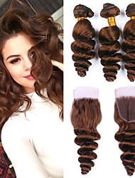 cheap -3 Bundles with Closure Brazilian Hair Loose Wave Remy Human Hair Human Hair Extensions Hair Weft with Closure 8-26 inch Brown Human Hair Weaves Women New Arrival Hot Sale Human Hair Extensions