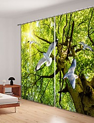 cheap -Pigeon Digital Printing in The Woods 3D Window Shade Curtain High Precision Black Silk Fabric High Quality Curtain