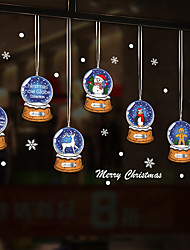 cheap -Christmas Crystal Ball Window Film &ampampamp Stickers Decoration Animal / Patterned Holiday / Character / Geometric PVC(PolyVinyl Chloride) Window Sticker
