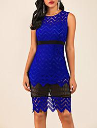 cheap -Women's Kentucky Derby Blue Dress Elegant A Line Solid Colored Cut Out S M