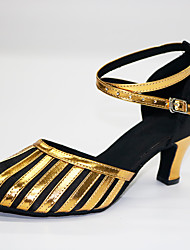 cheap -Women's Modern Shoes / Ballroom Shoes Satin Cross Strap Heel Cuban Heel Customizable Dance Shoes Black / Gold / Performance / Practice