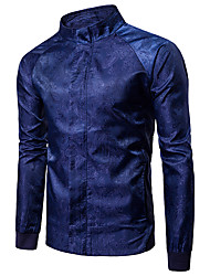 cheap -Men's Daily / Sports Basic / Street chic Spring &  Fall Regular Jacket, Solid Colored Round Neck Long Sleeve Acrylic / Polyester / Spandex Embroidered Black / Navy Blue