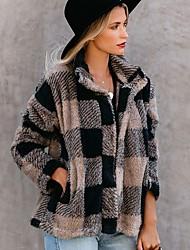 cheap -Women's Daily Fall & Winter Regular Faux Fur Coat, Plaid Turndown Long Sleeve Faux Fur Khaki