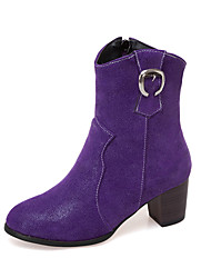 cheap -Women's Boots Chunky Heel Round Toe PU Mid-Calf Boots Vintage / British Fall & Winter Black / Brown / Purple / Party & Evening