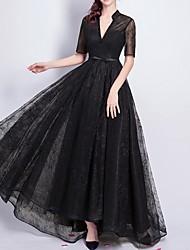 cheap -A-Line Elegant Formal Evening Dress V Neck Short Sleeve Floor Length Lace with Sash / Ribbon Beading 2020