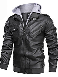 cheap -Men's Daily Fall & Winter Regular Leather Jacket, Color Block Hooded Long Sleeve PU Black / Brown / Gray