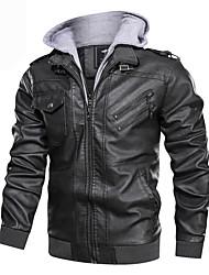 abordables -Homme Quotidien Automne hiver Normal Veste de cuir, Bloc de Couleur Capuche Manches Longues Polyuréthane Noir / Marron / Gris