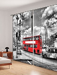 cheap -Red Bus Digital Printing 3D Curtain Shading Curtain High Precision Black Silk Fabric High Quality Curtain