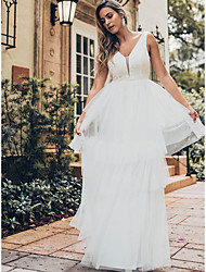 cheap -Ball Gown V Neck Floor Length Lace / Tulle Regular Straps Sexy Made-To-Measure Wedding Dresses with Lace Insert 2020