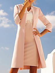 abordables -Fourreau / Colonne Col en V Mi-long Polyester Manches 3/4 Grande Taille / Elégant Robe de Mère de Mariée  avec Appliques 2020