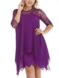 cheap -Women's 2020 Plus Size Slim Sheath Dress - Solid Colored Spring & Summer Lace Black Wine Purple S M L XL