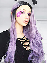 cheap -Synthetic Lace Front Wig Body Wave Middle Part Lace Front Wig Ombre Long Black / Purple Synthetic Hair 18-24 inch Women's Cosplay Heat Resistant Synthetic Purple Ombre
