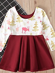 cheap -Baby Girls' Basic Color Block / Christmas Long Sleeve Cotton Dress Red / Toddler