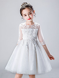 cheap -Princess Cosplay Costume Flower Girl Dress Kid's Girls' A-Line Slip Dresses Mesh Christmas Halloween Carnival Festival / Holiday Tulle Acrylic Fibers White Carnival Costumes Lace Flower / Cotton